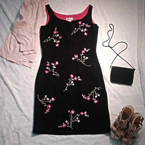 Black dress with pink embroidery